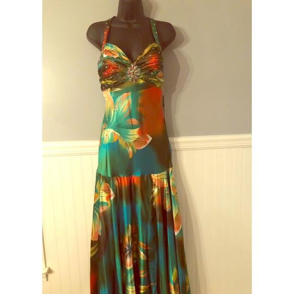 Tropical Halter Prom Dresses
